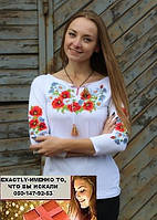 Вышиванка блузка рукав три четверти мак ромашка S-M, L-XL