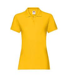 Женская футболка поло хлопок премиум желтая 030-34