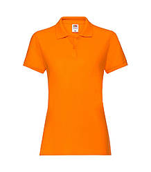 Женская футболка поло хлопок премиум оранжевая 030-44