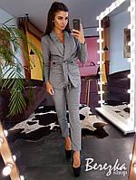 Костюм женский модный пиджак в клетку на подкладе и брюки Ds1712, фото 1