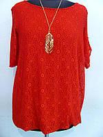 Нарядная блуза из ткани трикотаж масло + эластан и кружево (Италия), кулон в подарок, размер 48-52, код 2220М