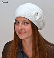 Женский Ракушка берет , цвет белый (осень, зима)