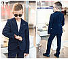 """Классический костюм для мальчика """"Август"""" синий 2-ка пиджак и брюки из вельветовой ткани арт 109-95, фото 5"""