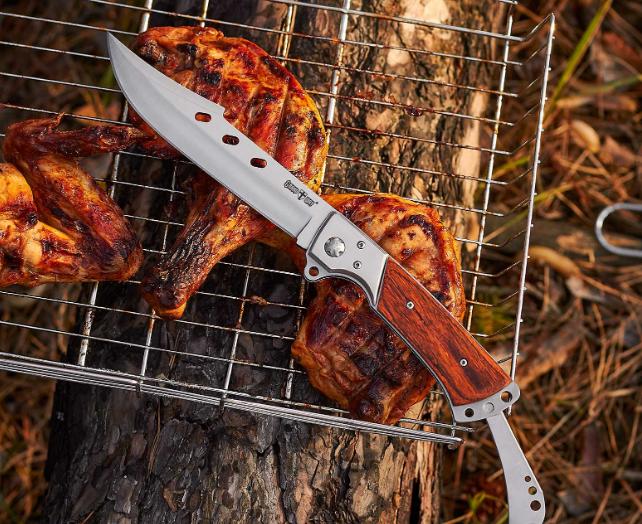 Нож складной  с металлической и деревянной рукояткой, который  продолжает складной металлический хвостовик