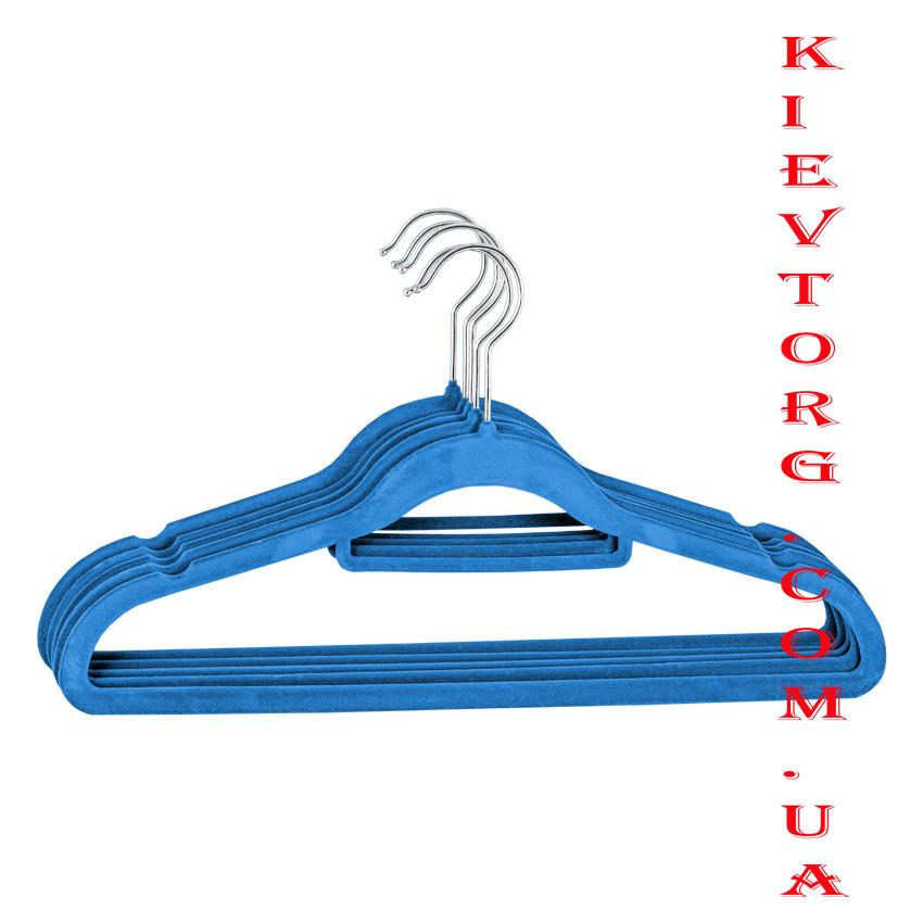 Плечики вешалки флокированные (бархатные, велюровые) синего цвета, длина 42 см