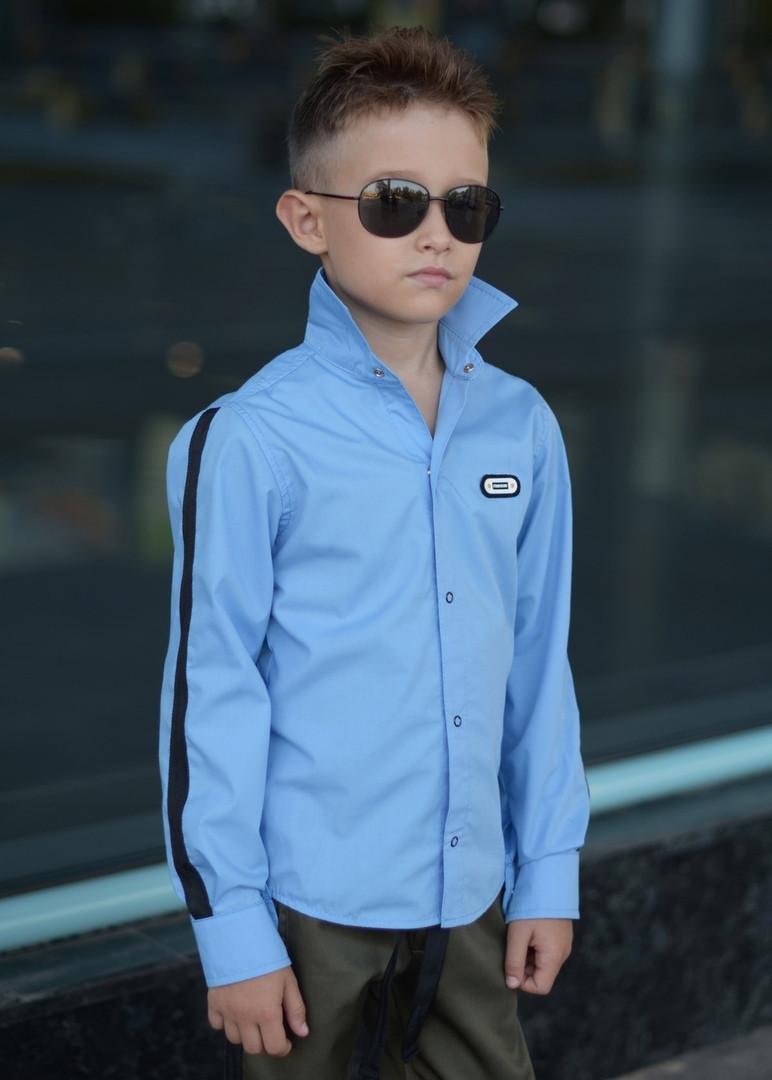 """Рубашка для мальчика """"Flin"""" голубая с лампасами  арт 110-95"""
