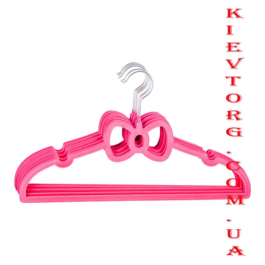 """Плечики вешалки флокированные (бархатные, велюровые) """"бантик"""" розовые, длина 400 мм"""