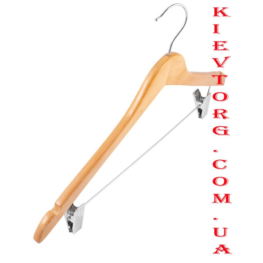 Вешалки плечики деревянные с прищепками для юбок и брюк костюмные, 44 см