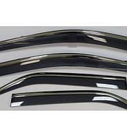Ветровики хромированные Hyundai Santa Fe 2006-2012  дефлекторы окон полный комплект