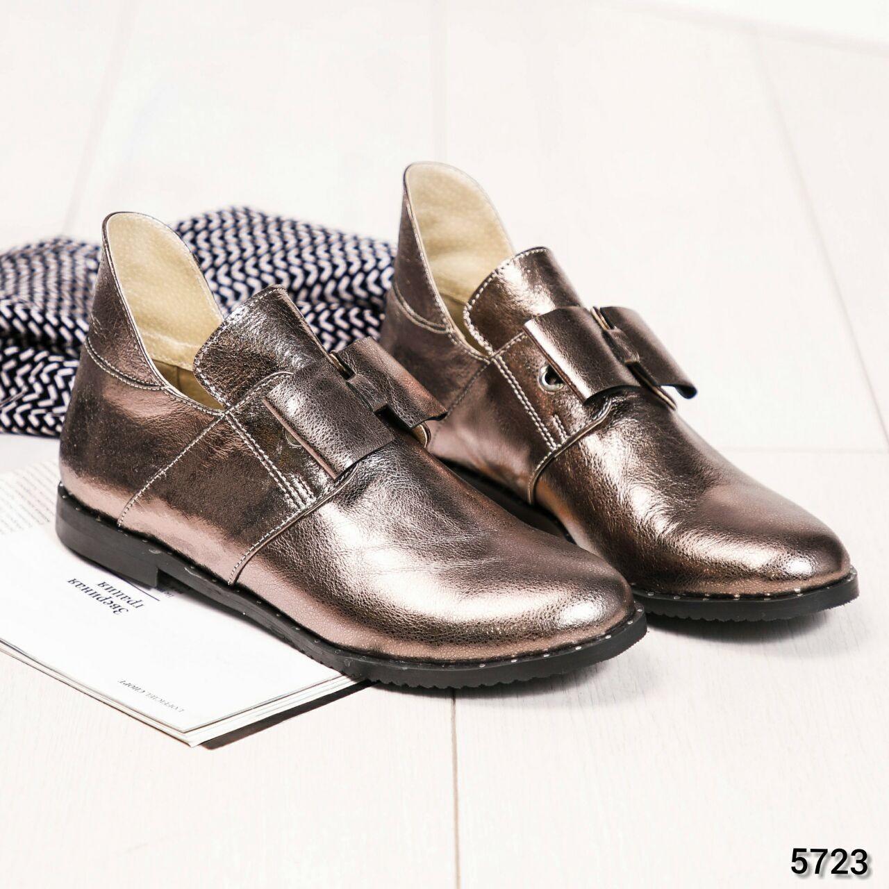 Женские Ботинки открытые с бантом, Натуральная кожа сатин. Размер 37