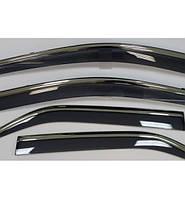 Ветровики хромированные Hyundai Tucson 2015- дефлекторы окон полный комплект, фото 1