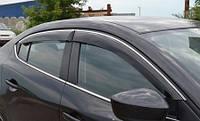 Вітровики хромовані Mazda 3 2007-2010 SD дефлектори вікон повний комплект, фото 1