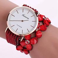 Модные женские часы-браслет Geneva с цветами и стразами (Красные)
