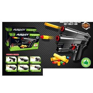 Пистолет SY021A (84шт) 16см, мягкие пули-присоски 2шт, пульки 5шт, в кор-ке, 17-13,5-4см