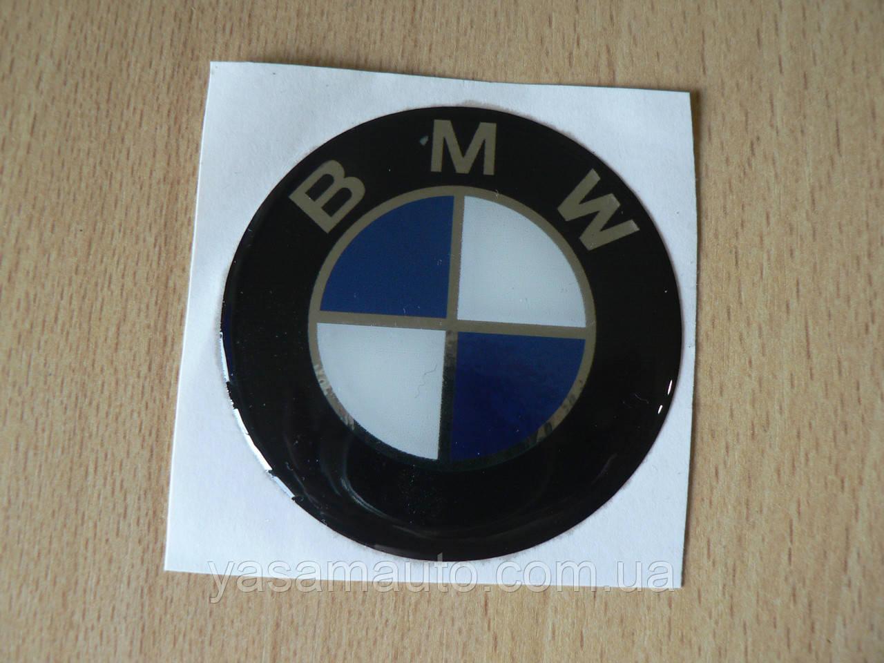 Наклейка s круглая BMW 60х60х1.2мм силиконовая эмблема в круге без ободка на авто 3М БМВ №2