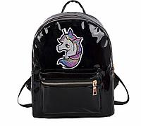Голограммный рюкзак з єдинорогом чорний, фото 1
