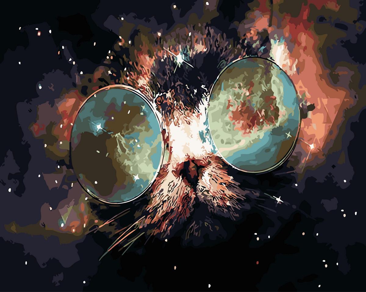 Картина по номерам  Космический кот, 40x50 см., Rainbow art