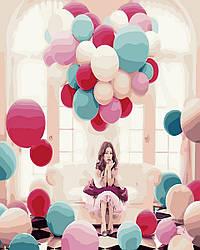 Картина по номерам  Среди воздушных шаров, 40x50 см., Rainbow art