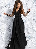 Платье из габардина с гипюровым верхом в пол, 00042 (Черный), Размер 44 (M)