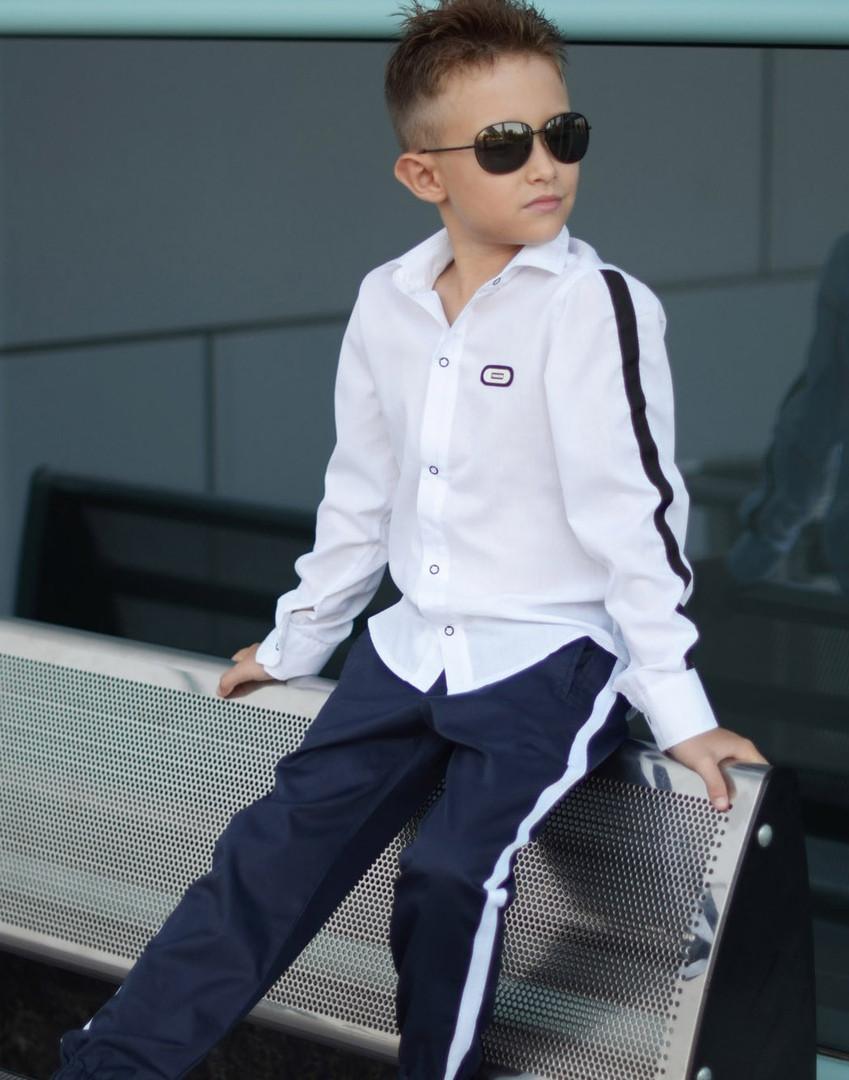 """Рубашка для мальчика """"Flin"""" белая с лампасами  арт 112-95"""