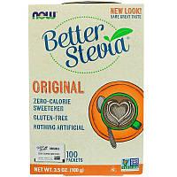 """Натуральная стевия NOW Foods """"Better Stevia"""" подсластитель без калорий, 100 пакетов (100 г)"""