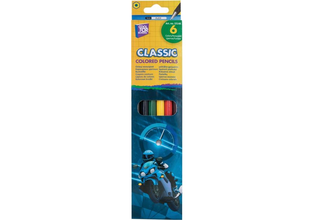 """Кольорові олівці Cool For School """"Moto"""", 6 кольорів"""