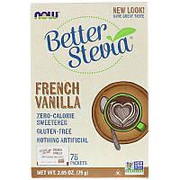 """Натуральная стевия NOW Foods """"Better Stevia"""" без калорий, вкус французская ваниль (75 пакетиков по 1 г)"""