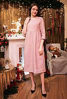 Твидовое платье миди MIRACLE с рукавами 3/4 и широкой юбкой