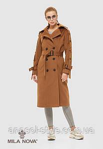 Пальто женское демисезонное итальянская шерсть цвет охра