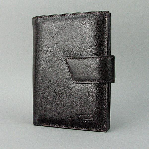 Кошелек мужской кожаный черный паспорт права Bond