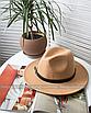 Шляпа федора женская бежевая кемел с широкими полями классическая трендовая фетровая, фото 3