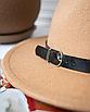 Шляпа федора женская бежевая кемел с широкими полями классическая трендовая фетровая, фото 4