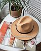 Шляпа федора женская бежевая кемел с широкими полями классическая трендовая фетровая, фото 5