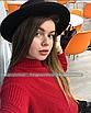 Шляпа федора женская бежевая кемел с широкими полями классическая трендовая фетровая, фото 6