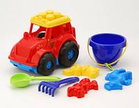 Трактор Кузнечик №2 с лопаткой, граблями, 2 пасочки 0213