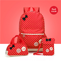 Рюкзак школьный женский Набор 3 в 1 для девочки красный, фото 1
