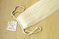 Натуральний хвіст на стрічці з слов'янських волосся преміум, фото 1