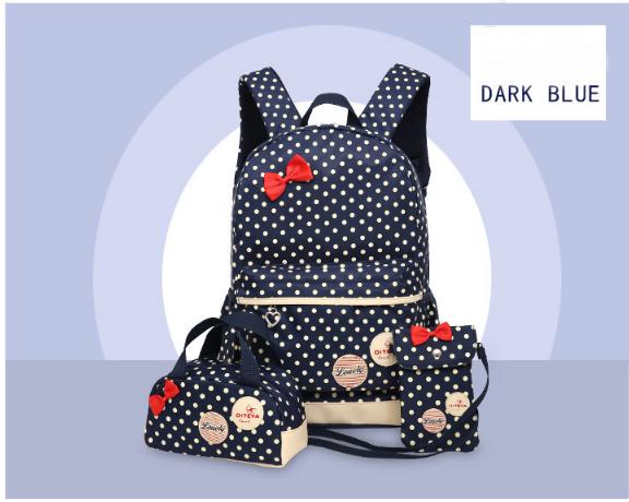 Рюкзак школьный женский Набор 3 в 1 для девочки темно-синий