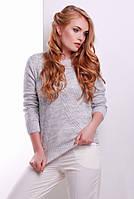 Женский вязаный однотонный свитер с вырезом лодочка светло-серый