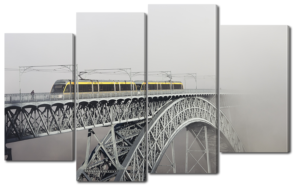 Модульная картина Interno Эко кожа Мост в тумане 140x89см (A1146XL)