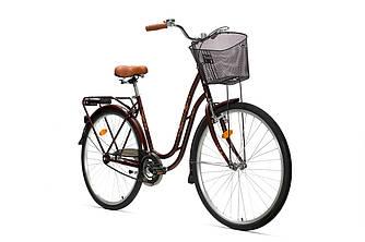 "Велосипед ретро AIST TANGO 1.0 28"",з кошиком, КОРИЧНЕВИЙ білоруський велосипед"