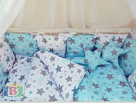 Комплект в кроватку 9в1. Для кроваток размером 120х60 см. Материал: сатин, холофайбер
