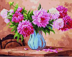 Алмазная мозайка+картина по номерам Пышные пионы, 40x50 см., Rainbow art