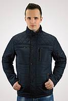 Мужская батальная куртка демисезонная (50-64) Куртка темно-синяя стеганная