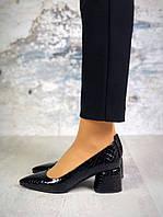 Туфли женские кожаные под рептилию