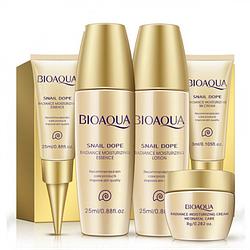 Дорожный набор кремов для лица Bioaqua Snail с секретом улитки и пептидами 5 шт