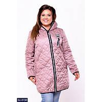 Куртка женская стеганная батал размеры 48-62 цвет пудра