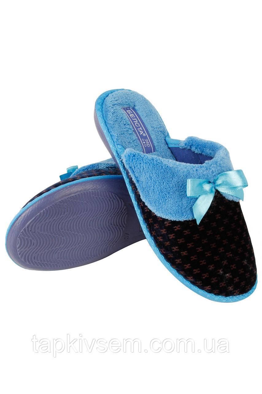Женские домашние Belsta тапочки утепленные с бантиком Синие