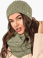 Вязаная шапка и шарф-снуд, женский комплект,оливковый