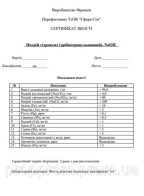 Щелочь NAOH. Гидрооксид Натрия ХЧ 1 кг